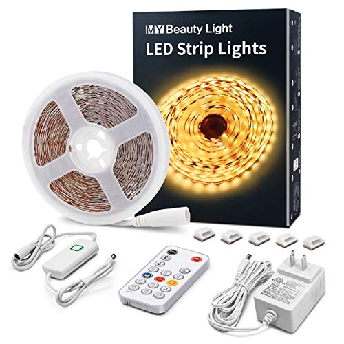 LED Strip Lights Warm White, 16.4ft Dimmable LED Light Strip with RF Remote, 300 Bright 3000K 2835 LEDs, Plug-in Adhesive Rope Lights with Timing Mode for Living Room Bedroom Kitchen Cabinet Mirror