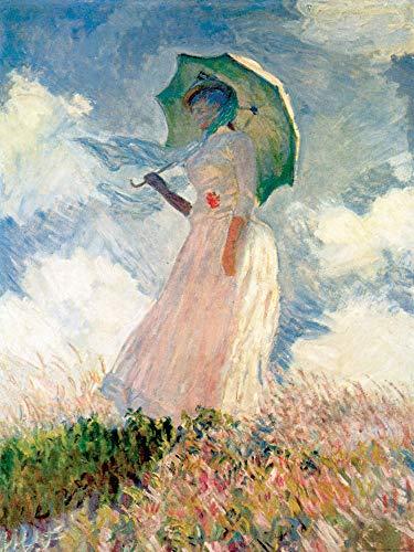 1art1 Claude Monet - Frau Mit Sonnenschirm 1886 Poster Kunstdruck 80 x 60 cm