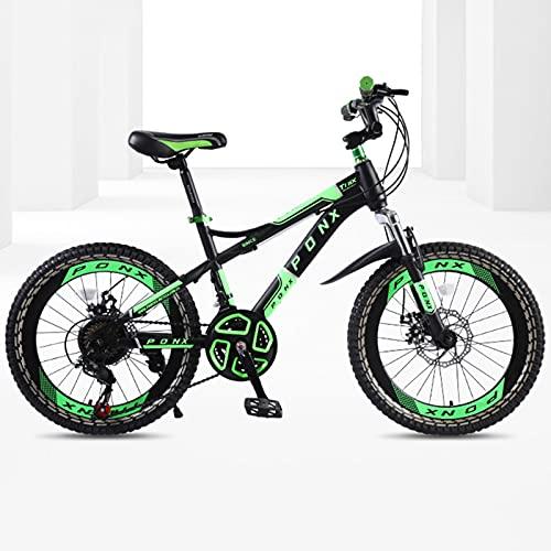 DSENIW Bicicleta De Montaña para Niños, 22 Pulgadas, 21 Velocidades, Estructura De Acero con Alto Contenido De Carbono, Fácil Montaje. Sistema De Frenos Seguro para Niños. Rojo Verde Naranja,Verde