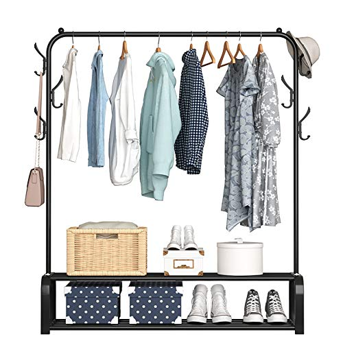 YAYI Garment Rack Drying Rack Freestanding Hanger Bedroom Clothing Rack With 2-Tier Lower Storage Shelf And Side Hooks,Black