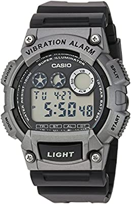Casio Men's 'Super Illuminator' Quartz Resin Casual Watch, Color:Black (Model: W-735H-1A3VCF)