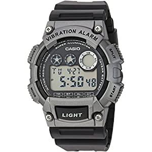 Casio watches Casio Men's 'Super Illuminator' Quartz Resin Casual Watch, Color:Black (Model: W-735H-1A3VCF)