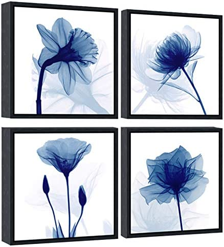 Pyradecor Black Framed Blue Flickering Flower Modern Abstract Paintings Canvas Wall Art Grace product image