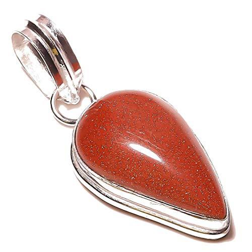Röd solsten handgjord hänge 4,42 cm lång silverpläterad! Smycken från Kashish! All variation lagrar alla tillfällen