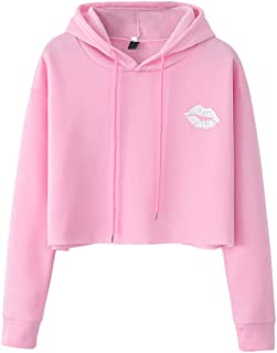 Hoodie Women Solid Color Long Sleeve Shirt Pullover Short Drawstring Lips Print Sweatshirt Business Casual Cycling Sport T...