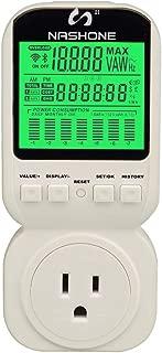 Power Energy Meter Plug by Nashone Digital Electricity Usage Consumption Monitor,Watt Meter Plug-in LCD Display Overload Alarm