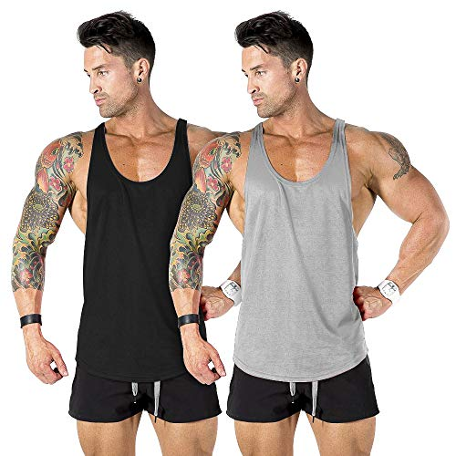nine bull Men's Gym Workout Tank Top Muscle Stringer Bodybuilding Fitness T-Shirts Tops, 2 Pack, Black and Grey, L