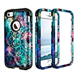 Lamcase for Apple iPhone SE Case/iPhone 5S Case/iPhone 5 Case Shockproof Hard PC & Flexible Silicone High Impact Durable Bumper Drop Protective Case Cover for Apple iPhone SE/5S/5, Mandala/Galaxy