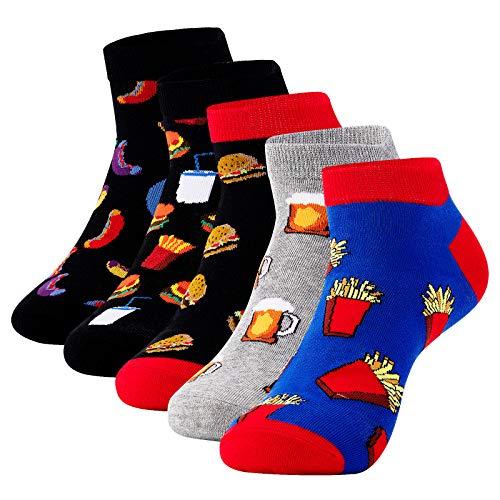 CNNIK 5 Paar Sneaker Socken Damen Herren Hamburger Pommes Frites Bierwurst Kurze Socken Mehrfarbige Mode Neuheit Lustige Cartoon Atmungsaktive Baumwolle Socken für Frühling Herbst