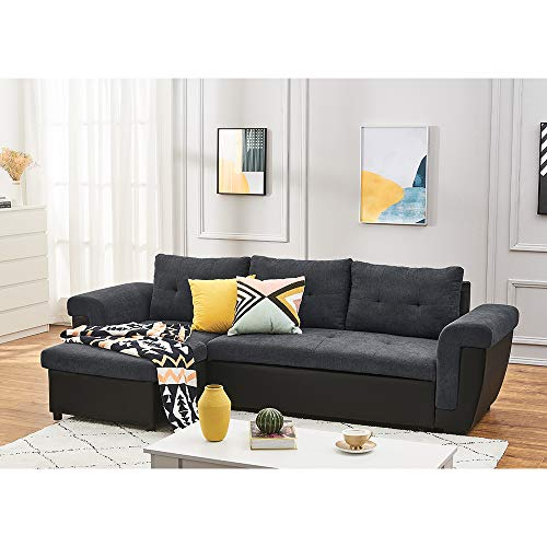 2-In-1 Pull Out Sofa Bed with Footstool Convertible Corner Couch Multifunctional Storage Sofa Bed Left or Right Chaise Settee for Living Room (Gray Linen Fabric + Black Faux Leather)