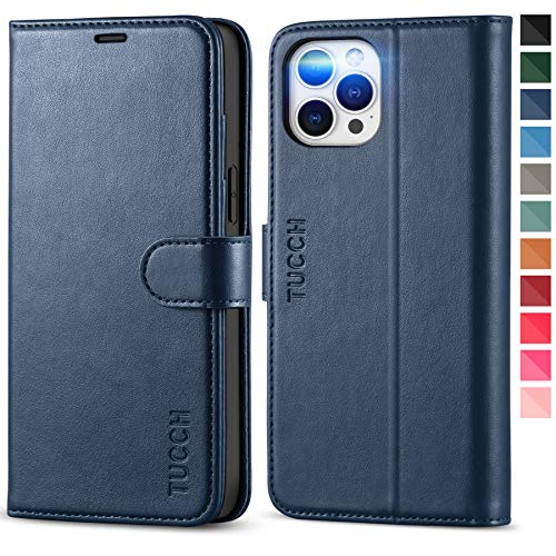"""TUCCH Wallet Case for iPhone 12 Pro Max 5G, Premium PU Leather RFID Blocking Credit Card Holder Magnetic Stand Flip Cover [TPU Shockproof Inner Shell] Compatible with iPhone 12 Pro Max 6.7"""", Dark Blue"""
