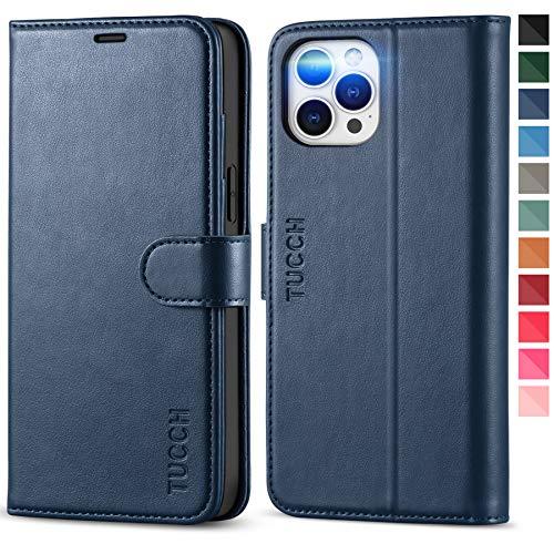 TUCCH Custodia TPU iPhone 12 PRO Max, Cover Pelle Sintetica [RFID Blocking] Portafoglio, Supporto Orizzontale Slot per Schede Patta Magnetica per iPhone 12 PRO Max (6,7 Pollici, 2020) - Blu Scuro