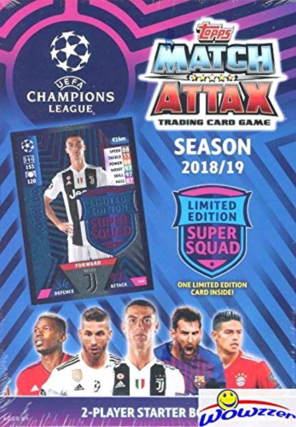 2018/2019 Topps Match Attax Champions League Soccer Starter Box with 45 Cards Including EXCLUSIVE Super Squad Limited Edition RONALDO Juventus Card & 2 Goalkeeper Cards! PLUS Game Mat & Rules! WOWZZER