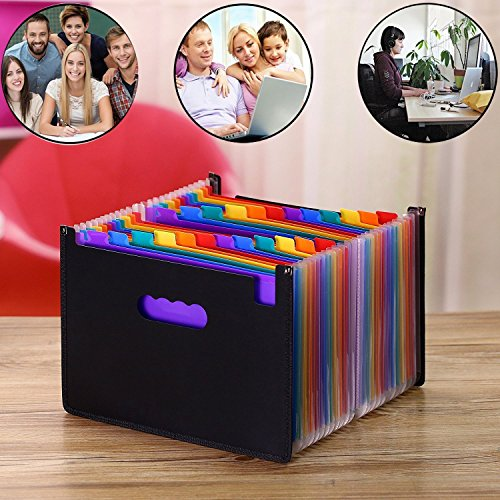 Expanding Files,File Folder,Portable Accordian File Organizer Multi Color A4 Expanding Document Bills Recipe Folder Expandable Files Organiser File Folder Stand for Office Business Study 24 Pockets Photo #6