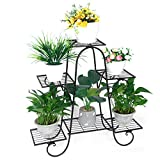 Lehom Metal Plant Stand Flower Holder Racks 6 Tier 29inch Height Iron Shelves Patio Stand Holder Indoor Outdoor Displaying Plants Flowers Black