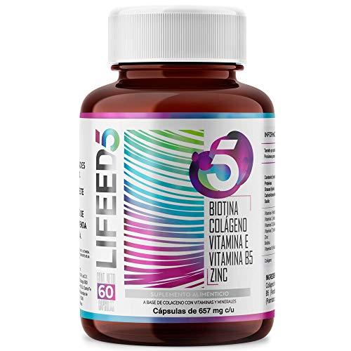 LF5 HAIR NAILS Biotina Colageno Hidrolizado Zinc Vitaminas E D3 C y B5 | Para 60 Días | LIFEED5 Cabello Piel Uñas | Ing Naturales | LIFEED Cápsulas con Vitamina Biotin
