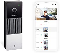 Netatmo Smart Video Doorbell, 2-Way Audio, Person Detection, No Subscription Fees, HD 1080p, Night Vision, Easy Wired Inst...