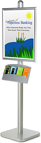 Floor Standing Sign Stand For 22x28 Posters Includes 4 Pocket Literature Tray For 4x9 Brochures Front Loading Poster Frame Aluminum Steel Silver