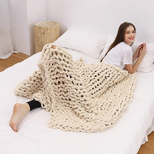 DIRUNEN Chunky Knit Luxury Throw Blanket Large Cable Knitted Premium Soft Cozy Chenille Bulky Blankets for Cuddling up in Bed, on The Couch or Sofa Beige 59'×59'