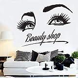 Pegatinas de Pared salón de Belleza salón manicura cosméticos patrón de pestañas Arte Mural Vinilo Pegatina Arte 99x75cm