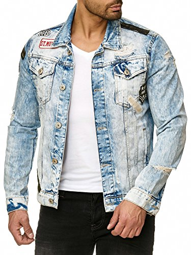 Redbridge Hombres Chaqueta de Jeans Moderno Parche Retro Diseñador Biker Jackets
