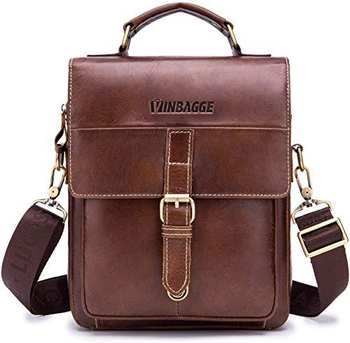 Echtes Leder Klein Umhängetasche Herren Tasche Reisen Schultertasche Handytasche Männer Vintage Messenger Bag (ab-Braun)