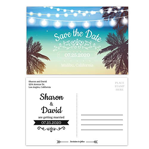 Custom - Beach Wedding Save The Date Invitation Postcard - Set of 25, Personalized Wedding Invitation, Hawaiian Wedding, Destination Wedding