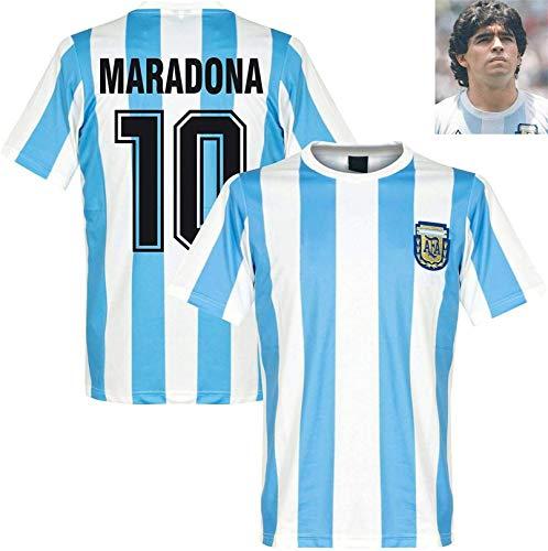 W Weiluogao Argentinien Trikot 86, Diego Maradona T-Shirt Herren, Argentinien Heimtrikot, Maradona 10# Fußballtrikot, Argentinien Maradona Fußball 1986 Retro Uniform für Erwachsene (XL)