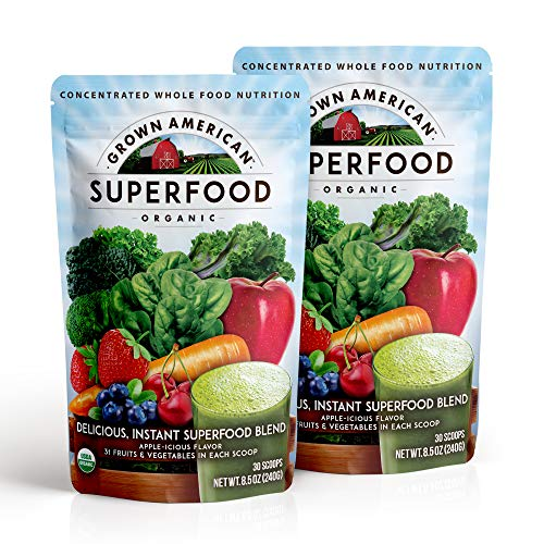 Grown American Superfood 31 Organic Whole Fruits and Vegetables Concentrated Green Powder Increase Energy and Performance Packed with Antioxidants 100% Certified Organic and Vegan Non-GMO (2)
