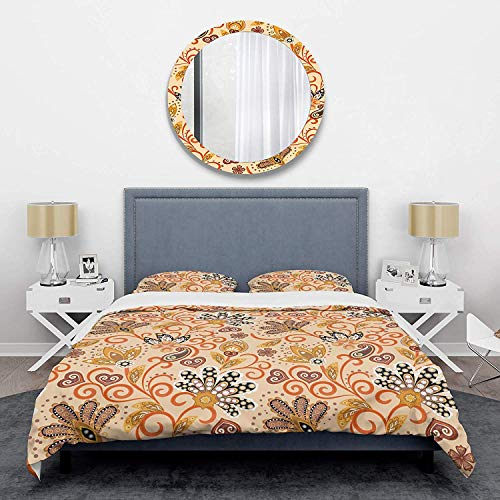 Duvet Cover 3 Piece Set Ultra Soft Microfiber Bedding Set Retro Indian Floral Batik III Mid-Century Design