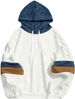 HEFASDM Mens Stripe Stitch Long-Sleeve Hooded Tshirt Hooded Sweatshirt