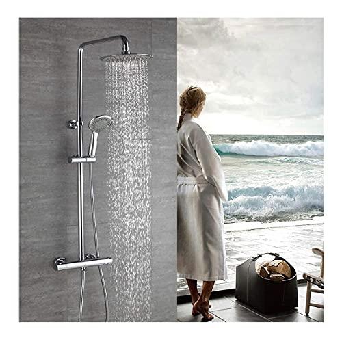 Grifo de ducha termostático redondo Set de ducha con columna de ducha Sistema de ducha regulable en altura Ducha de mano