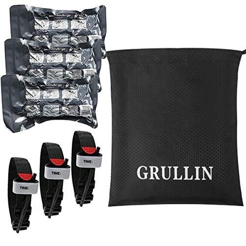 GRULLIN Trauma Accesorios de Primeros Auxilios Kit -3 Pack portátil Vendaje Israelí + 3 Pack Torniquete con un Paquete de Bolsillo