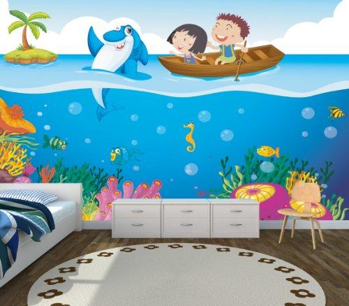 Papel Pintado Fotográfico Happy Ocean en diferentes tamaños–Papel pintado o a elegir), sin PVC, olores, contaminante en látex sin disolvente), diseño de fotografía de impresión de Trend paredes, papel pintado texturizado Premium, multicolor, 420x270cm