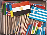 Image: 1 Box of Assorted Miniature World Toothpick Flags, 100 Small Mini Assorted Country Olympic World Cup Little Flag Cupcake Toothpicks or Cocktail Sticks and Picks (1 Box of 100)