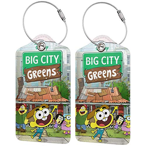 shenguang Big City Greens Poster Cricket and Family Pu Leather Luggage Tags Travel Bag Label for Men Women Set of 2pc