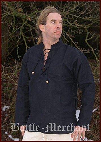 Moyen lourd chemise de pirate pour homme en coton/fixation à la main-moyen-noir moyenâgeuse gothique Taille XXXL