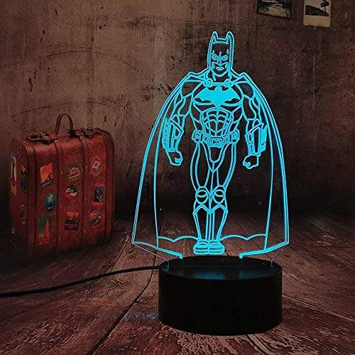 Marvel Figure Batman Night Light Led Superhero 3D Optical Illusion Smart 7 Colores Night Light Lámpara De Mesa Con Cable De Alimentación Usb Lámparas Para Cuna Fiesta Dormitorio Bar Centro Comercial