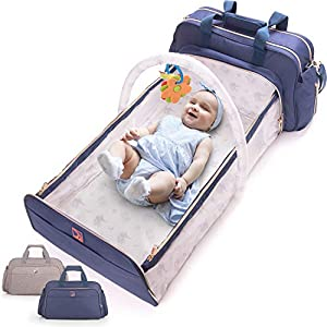 4-in-1 Convertible Baby Diaper Bag -Multiuse Travel Baby Bag -Includes Bassinet