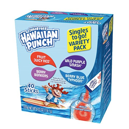 Hawaiian Punch Singles To Go Powder Sticks, Variety Pack, 40 Count, Pack of 4 - ORIGINAL FLAVOR