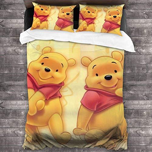 Yearinspace Wi-nnie P-ooh 3-teiliges Bettwäsche-Set, 218,4 x 177,8 cm, weich, leicht, Bettbezug-Sets mit 2 Kissenbezügen, für Jugendliche, Jungen, Mädchen, Schlafzimmer