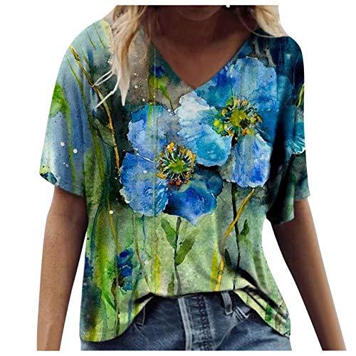 YAAY Camiseta casual de manga corta con cuello en V para mujer, impresión floral, moda de verano, básica, blusa de tallas S-5XL