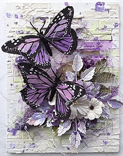 5d Diamond Painting Kits for Adults,Full Drill Diamond Art Animals Butterfly Rhinestone Painting with Diamonds Pictures Arts and Crafts for Home Wall Decor(12x16 Inch)