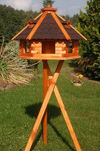 DEKO VERTRIEB BAYERN XXXL Premium Vogelhaus ⌀70x45cm mit/ohne Solar/Ständer Futterhaus Vogelvilla Vogelfutterhaus, Farbe: Dunkel + Solar + Ständer