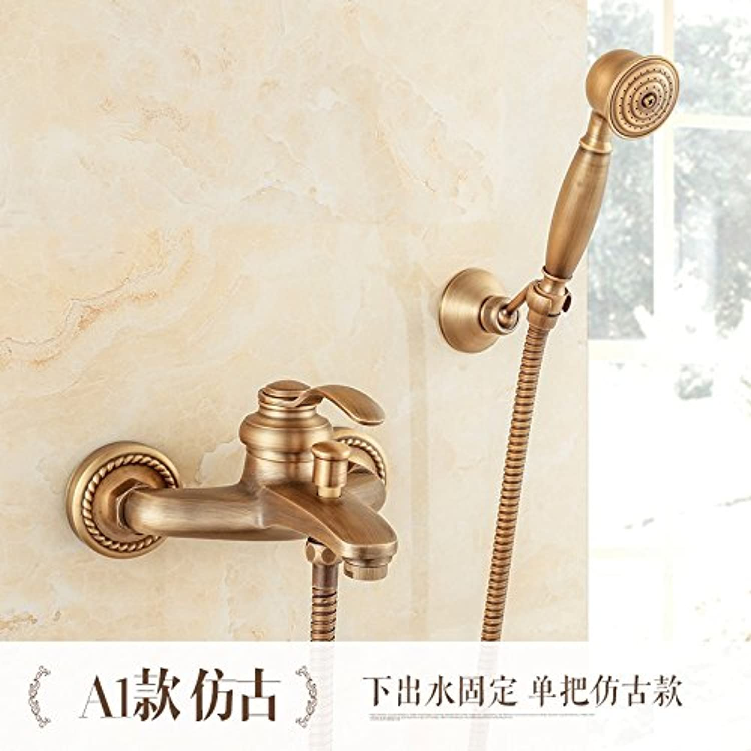 SADASD Modern Bathroom sink faucet Copper Natural Jade gold Waterfall gold-Plated Single Hole Single Handle Hot and Cold Water Ceramic Valve Core Tap With G1 2 Stainless Steel Hose