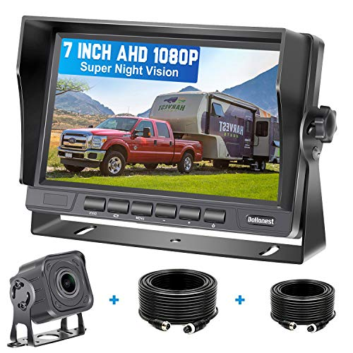 DoHonest V22 AHD 1080P RV Backup Camera Kit 7'' LCD Monitor Driving High-Speed Rear View Observation Plug and Play System for Trailer,Truck,Fifth Wheel Super Night Vision Long-Lasting Metal Material