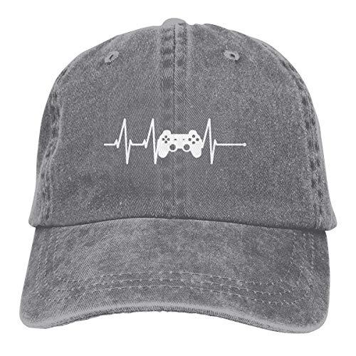 Hoklcvd Unisex Baseball Cap Denim Fabric Hat Video Game Controller Heartbeat Adjustable Snapback Sun Hat Pretty 3267 Comfortable 9688