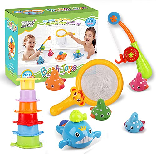 Giforou Bath Toys Fishing Games,Fishing Floating Squirts Toy BPA Free No Mold Water Table Pool Bath Time Bathtub Toy for Toddlers Baby Kids Infant Girls Boys Age 1 2 3 4 5 6 Years Old
