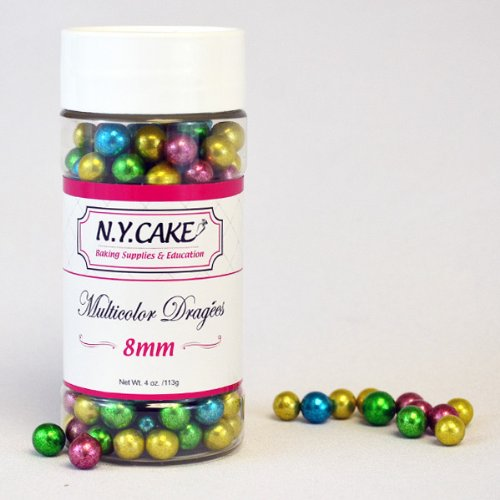 Multicolor Dragees 8mm By NY Cake 4oz
