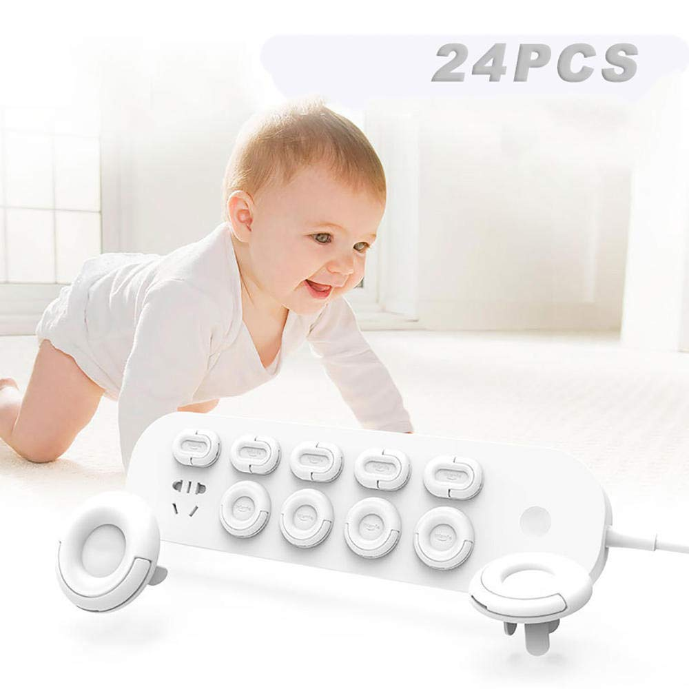 ZOULME Outlet Plug Covers - Baby Proofing Covers with Hidden Pull Handle(24 Pack), 3 Prong and 2 Prong Child Safety Socket Electrical Outlet Protector.